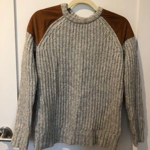 Madewell Knit Sweater with Suede Patches